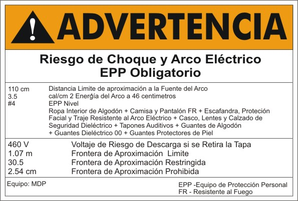 ARC FLASH LABEL - SPANISH